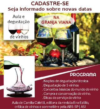 Seja informado sobre as novas aulas de vinhos na Granja Viana